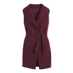 WHBM Sleeveless shawl collar wrap coat